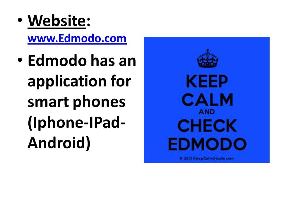 Website: www.Edmodo.com www.Edmodo.com Edmodo has an application for smart phones (Iphone-IPad- Android)