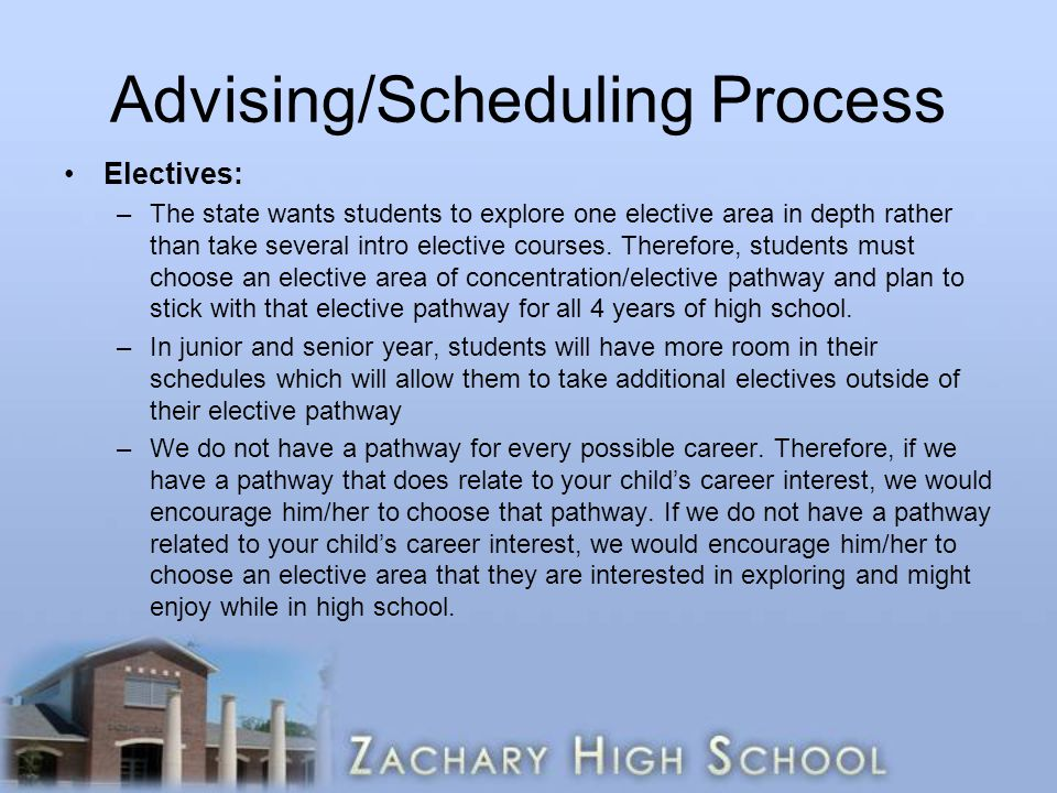 Advising/Scheduling Process Electives: –The state wants students to explore one elective area in depth rather than take several intro elective courses.