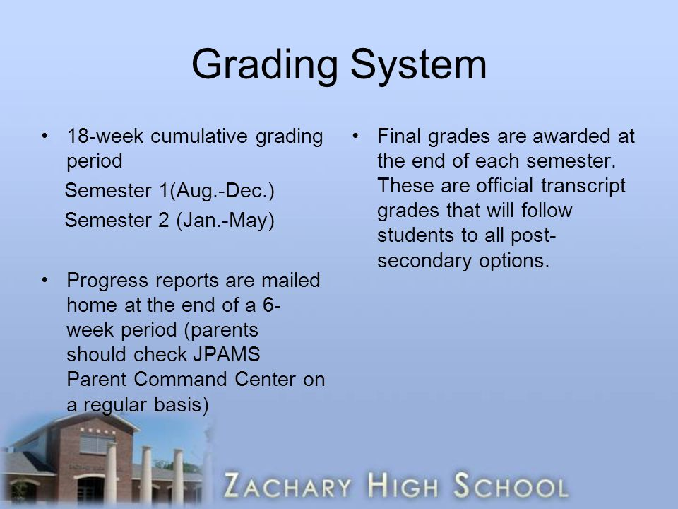 Grading System 18-week cumulative grading period Semester 1(Aug.-Dec.) Semester 2 (Jan.-May) Progress reports are mailed home at the end of a 6- week period (parents should check JPAMS Parent Command Center on a regular basis) Final grades are awarded at the end of each semester.