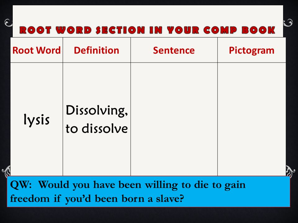 Root WordDefinitionSentencePictogram lysis Dissolving, to dissolve QW: Would you have been willing to die to gain freedom if you'd been born a slave