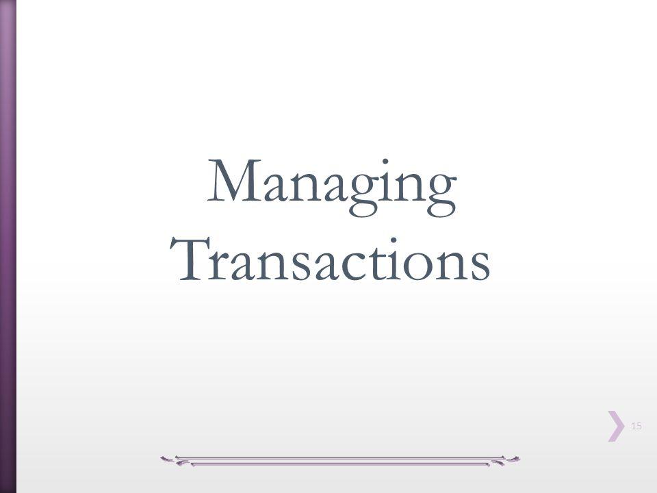 15 Managing Transactions