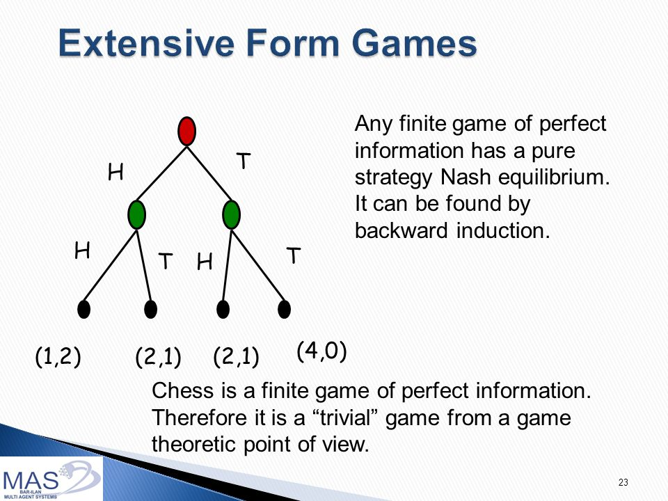23 H H H T T T (1,2) (4,0) (2,1) Any finite game of perfect information has a pure strategy Nash equilibrium.