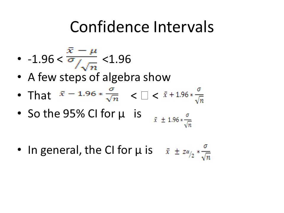Confidence Intervals -1.96 < <1.96 A few steps of algebra show That<  < So the 95% CI for µ is In general, the CI for µ is