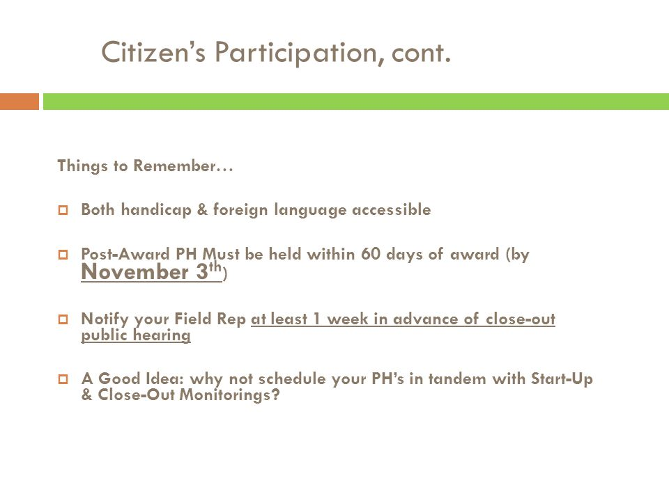 Citizen's Participation, cont.
