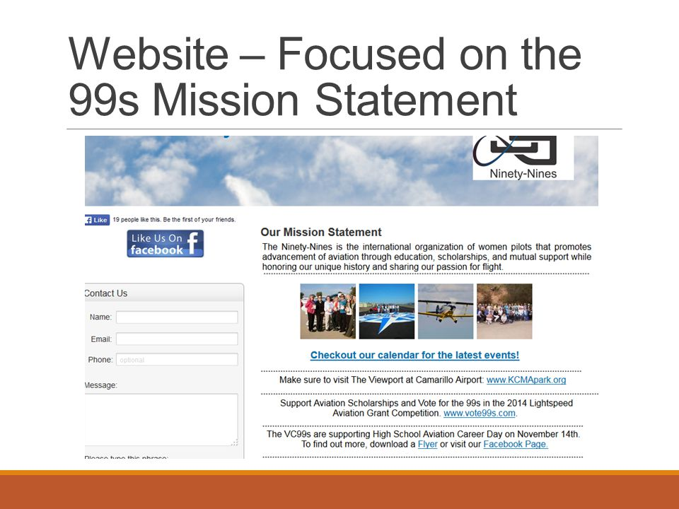 Website – Focused on the 99s Mission Statement