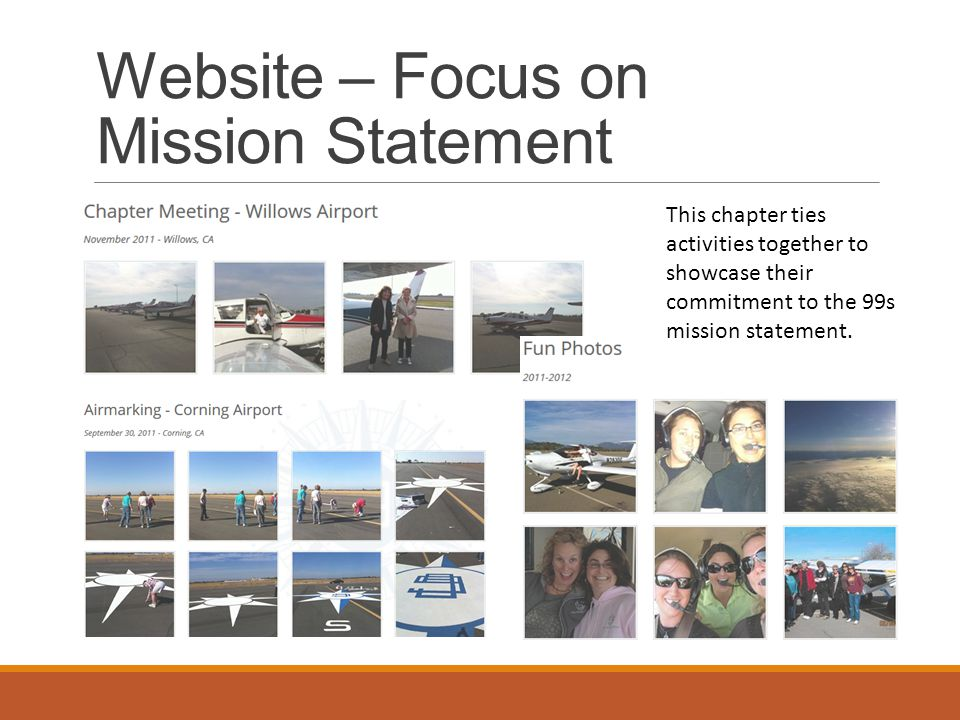 Website – Focus on Mission Statement This chapter ties activities together to showcase their commitment to the 99s mission statement.