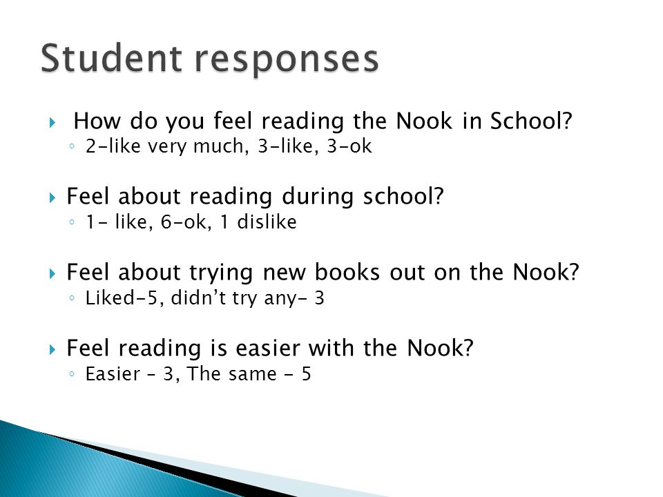  How do you feel reading the Nook in School.