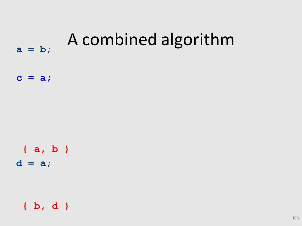 A combined algorithm a = b; c = a; d = a; { b, d } { a, b } 100