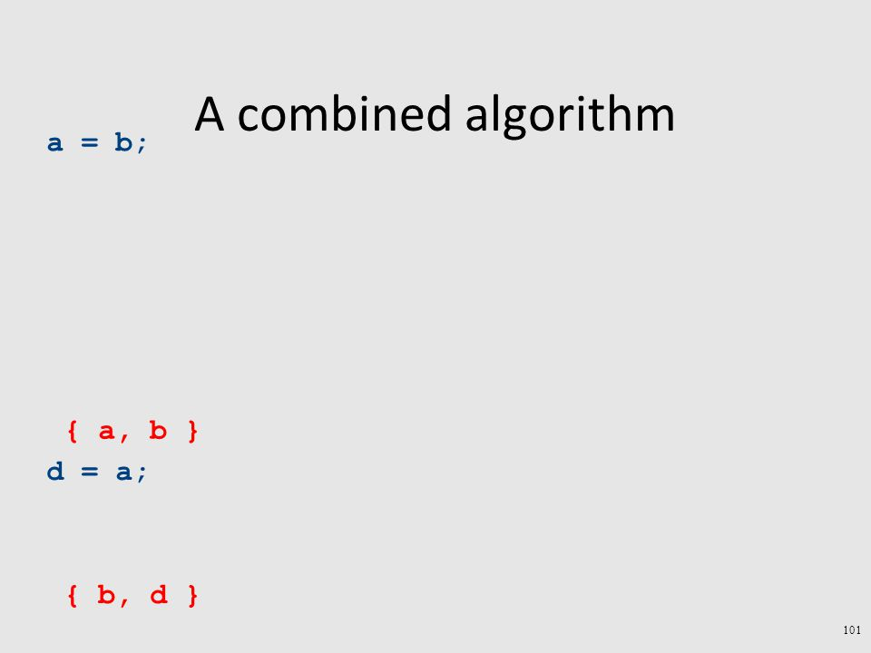 A combined algorithm a = b; d = a; { b, d } { a, b } 101