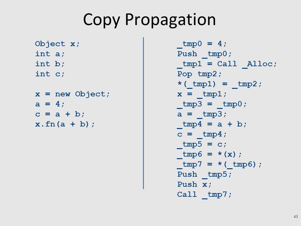 Copy Propagation Object x; int a; int b; int c; x = new Object; a = 4; c = a + b; x.fn(a + b); _tmp0 = 4; Push _tmp0; _tmp1 = Call _Alloc; Pop tmp2; *(_tmp1) = _tmp2; x = _tmp1; _tmp3 = _tmp0; a = _tmp3; _tmp4 = a + b; c = _tmp4; _tmp5 = c; _tmp6 = *(x); _tmp7 = *(_tmp6); Push _tmp5; Push x; Call _tmp7; 43