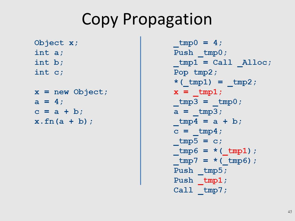Copy Propagation Object x; int a; int b; int c; x = new Object; a = 4; c = a + b; x.fn(a + b); _tmp0 = 4; Push _tmp0; _tmp1 = Call _Alloc; Pop tmp2; *(_tmp1) = _tmp2; x = _tmp1; _tmp3 = _tmp0; a = _tmp3; _tmp4 = a + b; c = _tmp4; _tmp5 = c; _tmp6 = *(_tmp1); _tmp7 = *(_tmp6); Push _tmp5; Push _tmp1; Call _tmp7; 45