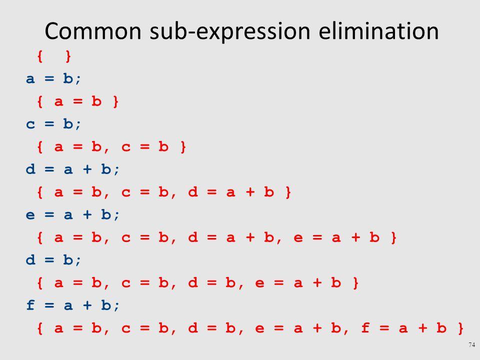 Common sub-expression elimination 74 a = b; c = b; d = a + b; e = a + b; d = b; f = a + b; { a = b, c = b, d = b, e = a + b } { a = b, c = b, d = a + b, e = a + b } { a = b, c = b, d = a + b } { a = b, c = b } { a = b } { } { a = b, c = b, d = b, e = a + b, f = a + b }
