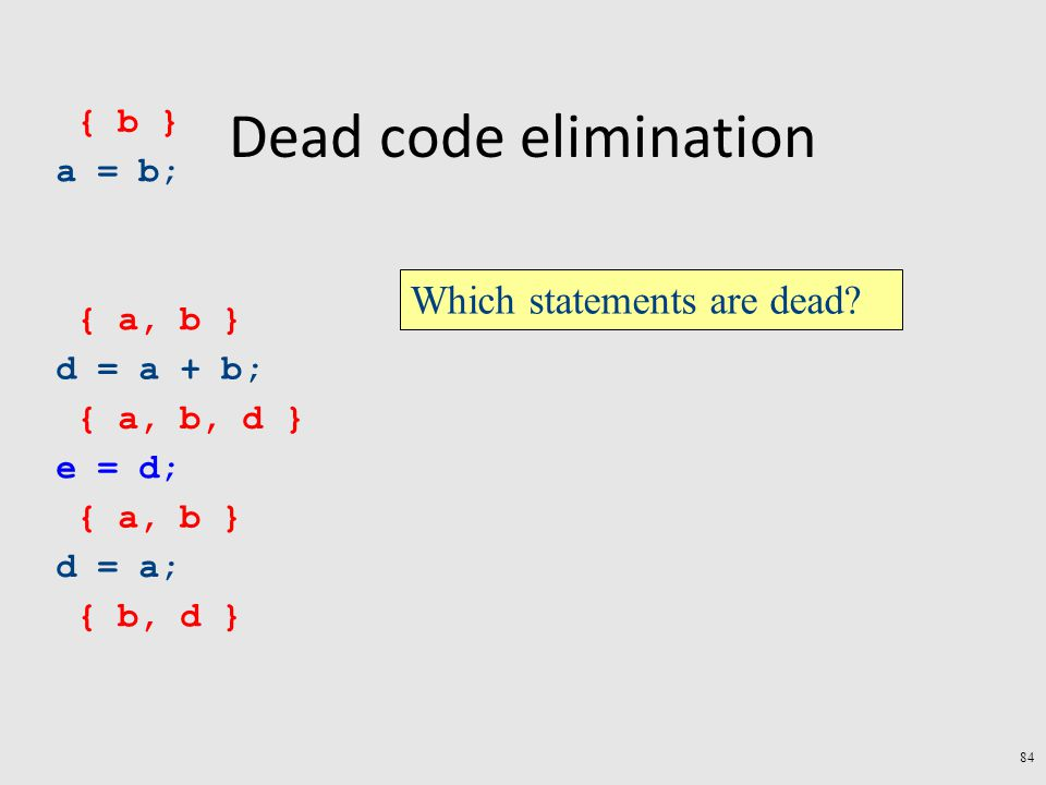 Dead code elimination a = b; d = a + b; e = d; d = a; { b, d } { a, b } { a, b, d } { a, b } { b } Which statements are dead.