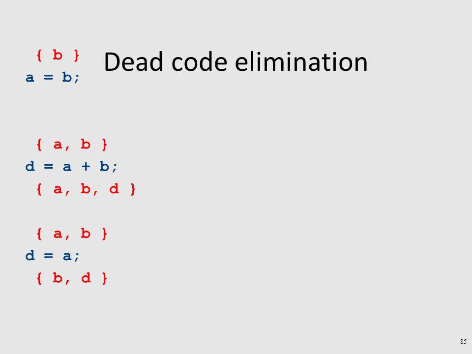 Dead code elimination a = b; d = a + b; d = a; { b, d } { a, b } { a, b, d } { a, b } { b } 85
