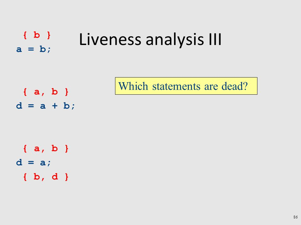 Liveness analysis III a = b; d = a + b; d = a; { b, d } { a, b } { b } Which statements are dead.