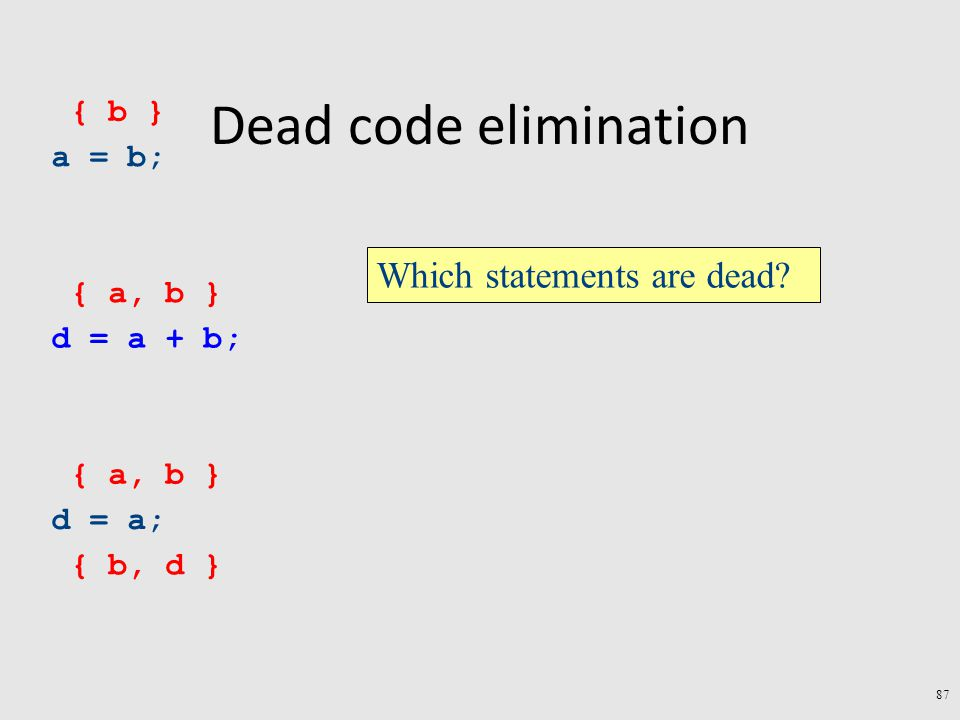 Dead code elimination a = b; d = a + b; d = a; { b, d } { a, b } { b } Which statements are dead.
