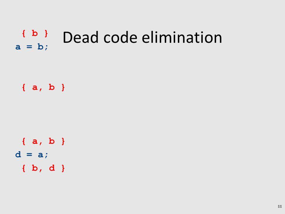 Dead code elimination a = b; d = a; { b, d } { a, b } { b } 88