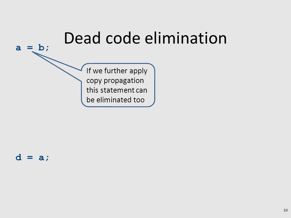 Dead code elimination a = b; d = a; 89 If we further apply copy propagation this statement can be eliminated too