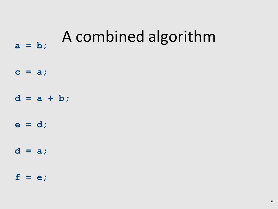A combined algorithm a = b; c = a; d = a + b; e = d; d = a; f = e; 91