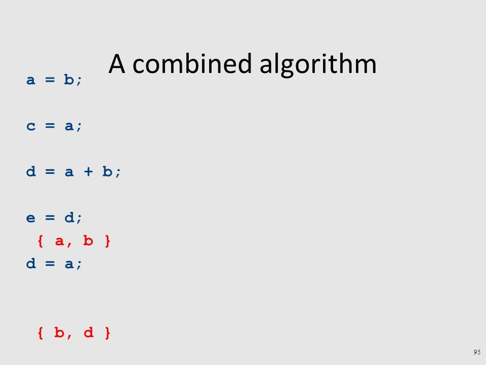 A combined algorithm a = b; c = a; d = a + b; e = d; d = a; { b, d } { a, b } 95