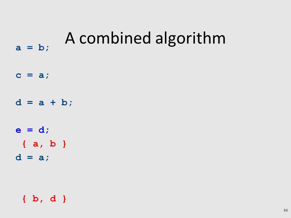 A combined algorithm 96 a = b; c = a; d = a + b; e = d; d = a; { b, d } { a, b }