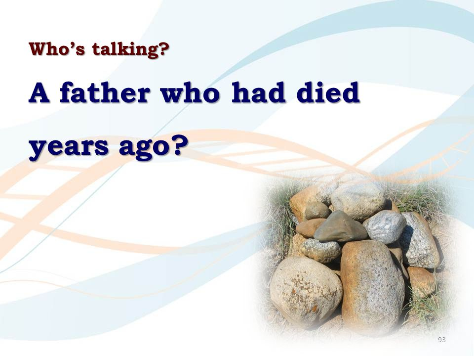 93 Who's talking? A father who had died years ago?