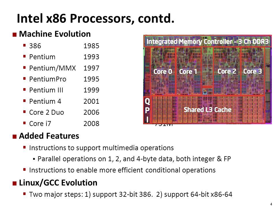 Carnegie Mellon 25 Understanding Swap void swap(int *xp, int *yp) { int t0 = *xp; int t1 = *yp; *xp = t1; *yp = t0; } Stack (in memory) RegisterValue %edxxp %ecxyp %ebxt0 %eaxt1 yp xp Rtn adr Old % ebp %ebp 0 4 8 12 Offset Old % ebx -4 %esp movl8(%ebp), %edx# edx = xp movl12(%ebp), %ecx# ecx = yp movl(%edx), %ebx# ebx = *xp (t0) movl(%ecx), %eax# eax = *yp (t1) movl%eax, (%edx)# *xp = t1 movl%ebx, (%ecx)# *yp = t0