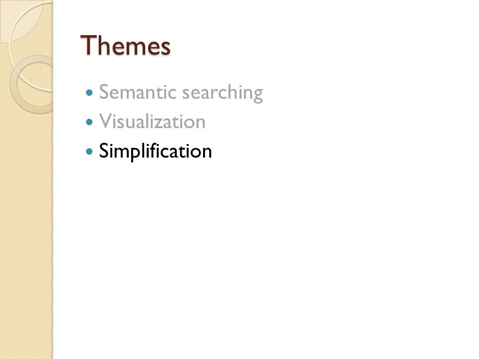 Themes Themes III Semantic searching Visualization Simplification