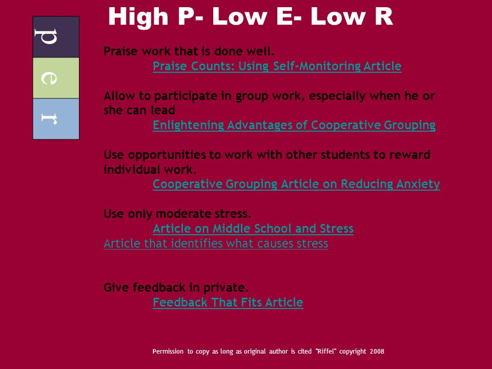 High P- Low E- Low R p e r Permission to copy as long as original author is cited Riffel copyright 2008 Praise work that is done well.