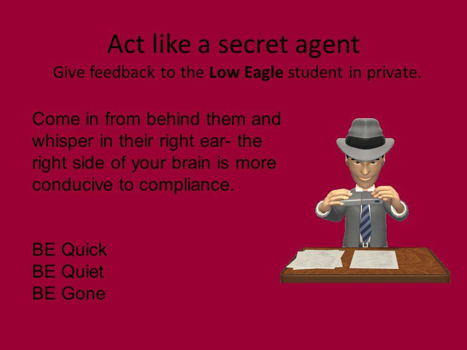 Act like a secret agent Give feedback to the Low Eagle student in private.
