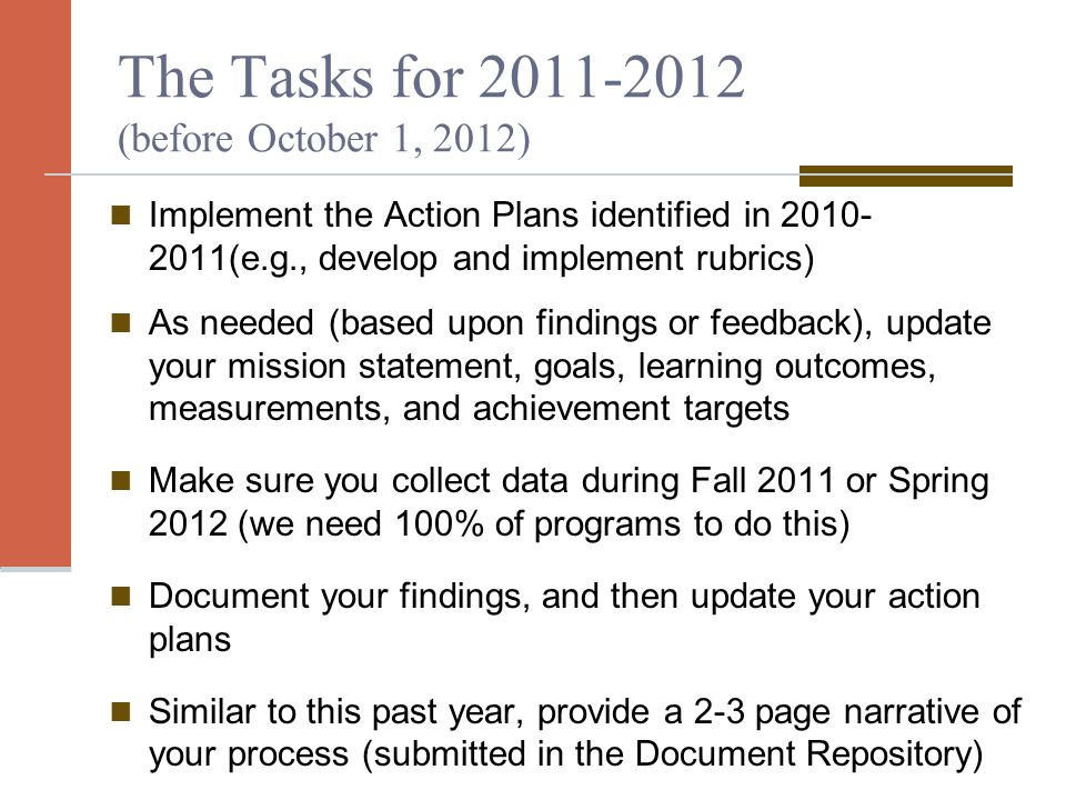 The Tasks for 2011-2012 (before October 1, 2012) Implement the Action Plans identified in 2010- 2011(e.g., develop and implement rubrics) As needed (based upon findings or feedback), update your mission statement, goals, learning outcomes, measurements, and achievement targets Make sure you collect data during Fall 2011 or Spring 2012 (we need 100% of programs to do this) Document your findings, and then update your action plans Similar to this past year, provide a 2-3 page narrative of your process (submitted in the Document Repository)