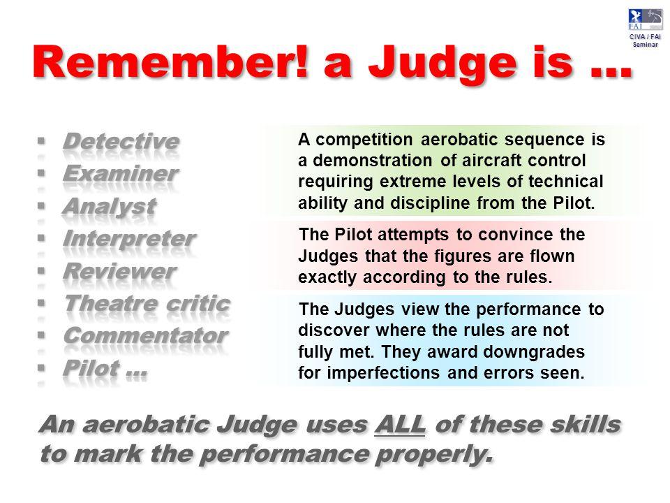 CIVA / FAI Seminar CIVA / FAI Seminar Remember! a Judge is … A competition aerobatic sequence is a demonstration of aircraft control requiring extreme