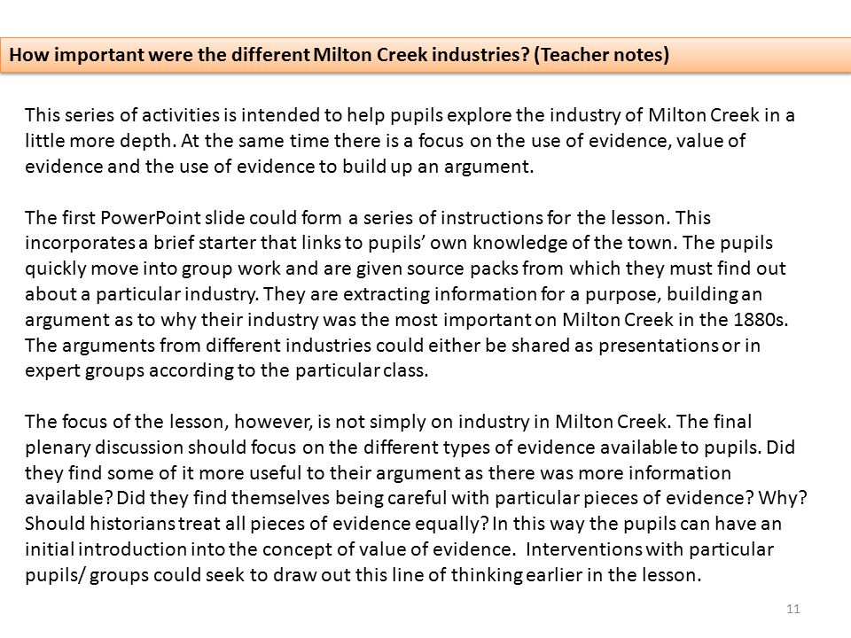 How important were the different Milton Creek industries.