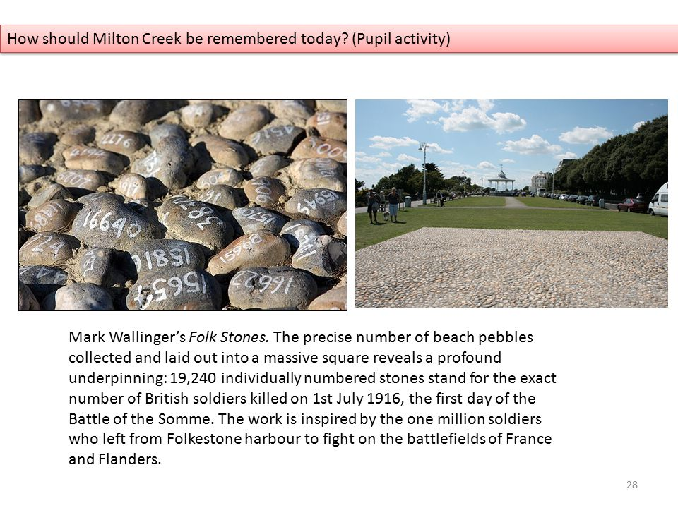 Mark Wallinger's Folk Stones. The precise number of beach pebbles collected and laid out into a massive square reveals a profound underpinning: 19,240
