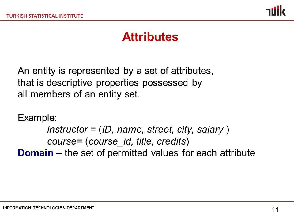 TURKISH STATISTICAL INSTITUTE INFORMATION TECHNOLOGIES DEPARTMENT 11 Attributes An entity is represented by a set of attributes, that is descriptive properties possessed by all members of an entity set.