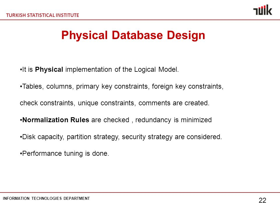 TURKISH STATISTICAL INSTITUTE INFORMATION TECHNOLOGIES DEPARTMENT 22 Physical Database Design It is Physical implementation of the Logical Model.
