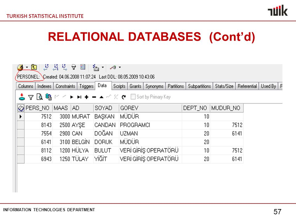 TURKISH STATISTICAL INSTITUTE INFORMATION TECHNOLOGIES DEPARTMENT 57 RELATIONAL DATABASES (Cont'd)