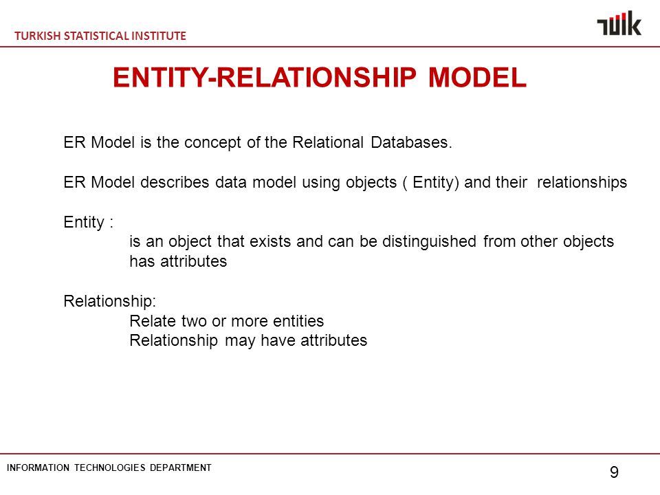 TURKISH STATISTICAL INSTITUTE INFORMATION TECHNOLOGIES DEPARTMENT 9 ENTITY-RELATIONSHIP MODEL ER Model is the concept of the Relational Databases.