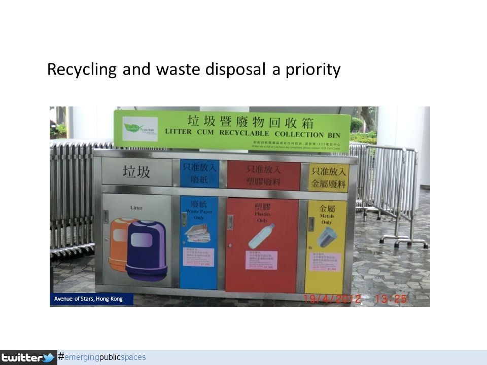 Recycling and waste disposal a priority Avenue of Stars, Hong Kong # emergingpublicspaces