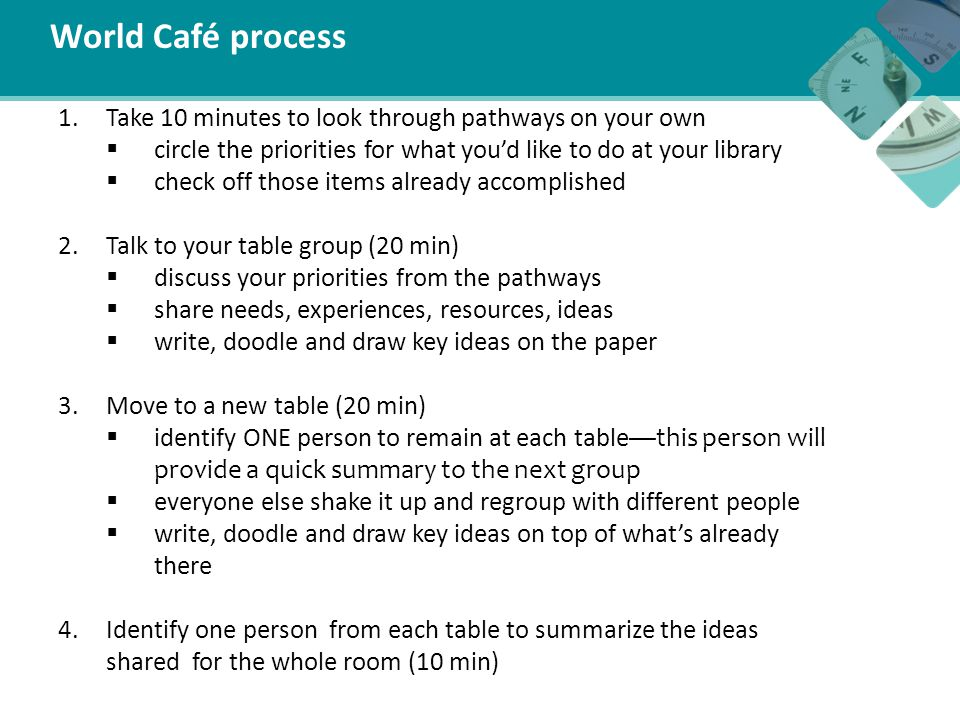 World Café process 1.Take 10 minutes to look through pathways on your own  circle the priorities for what you'd like to do at your library  check of