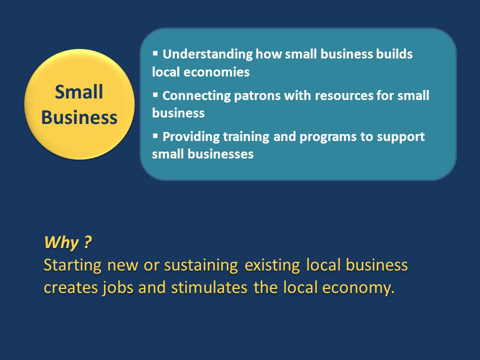 Small Business  Understanding how small business builds local economies  Connecting patrons with resources for small business  Providing training a