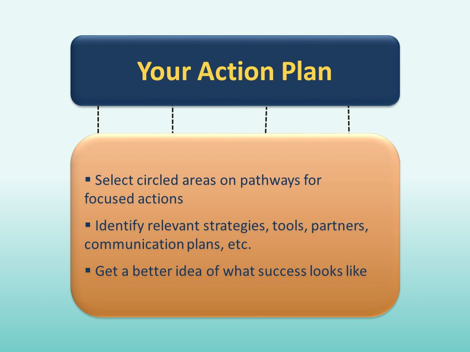  Select circled areas on pathways for focused actions  Identify relevant strategies, tools, partners, communication plans, etc.  Get a better idea