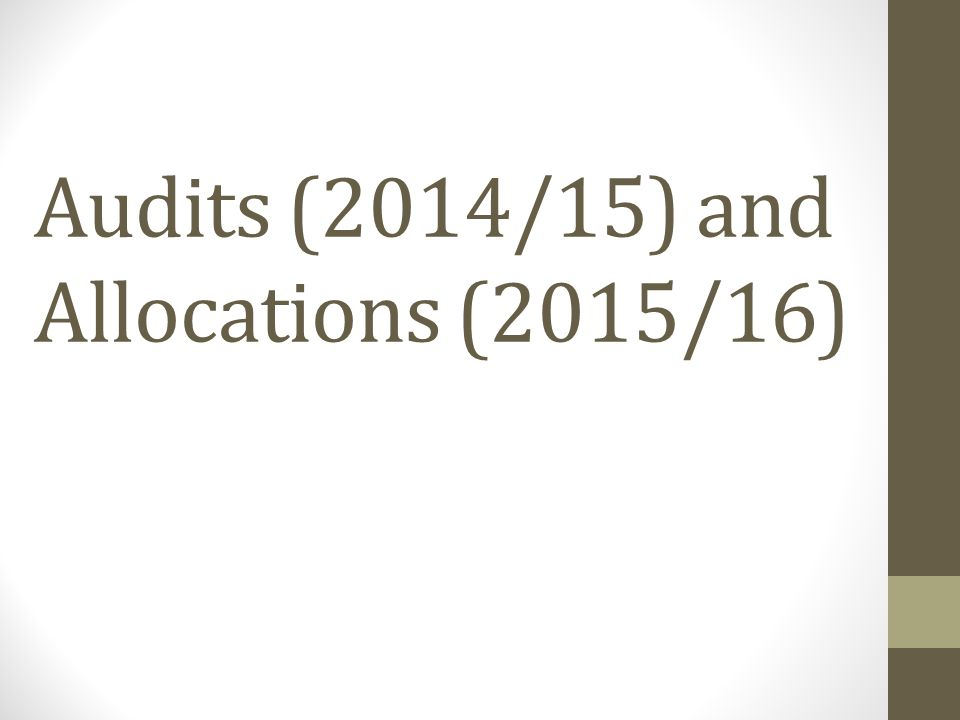 Audits (2014/15) and Allocations (2015/16)