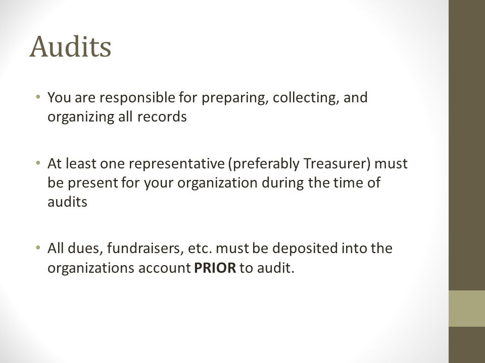 Audits Each organization will be given 15 minutes for audit.