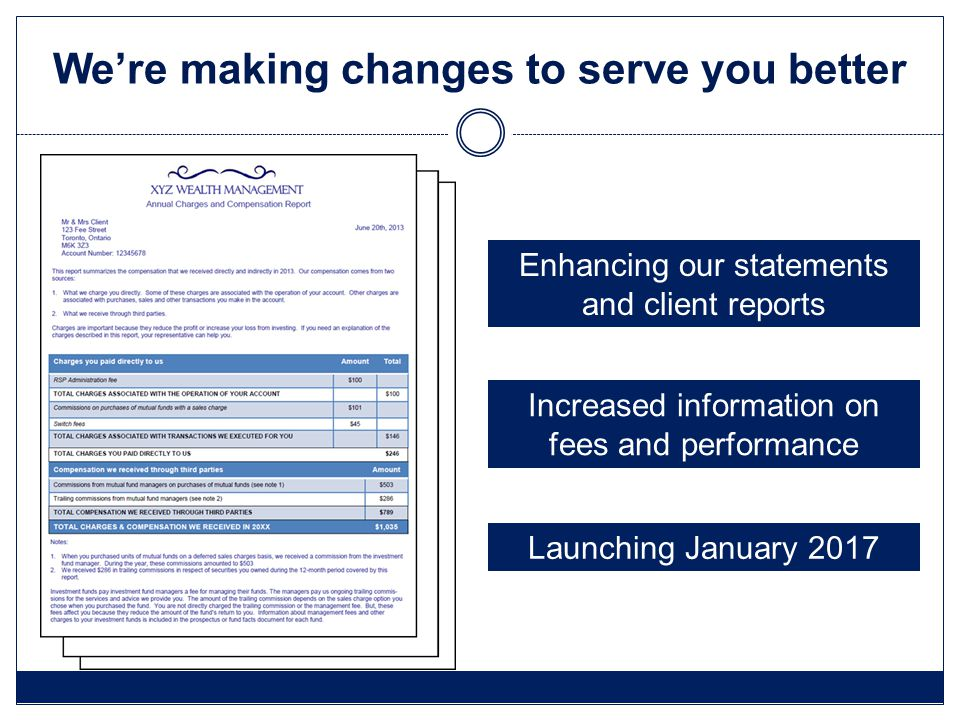 We're making changes to serve you better Enhancing our statements and client reports Increased information on fees and performance Launching January 2017