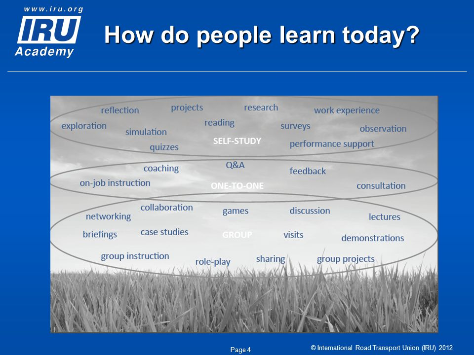 © International Road Transport Union (IRU) 2012 Page 4 How do people learn today