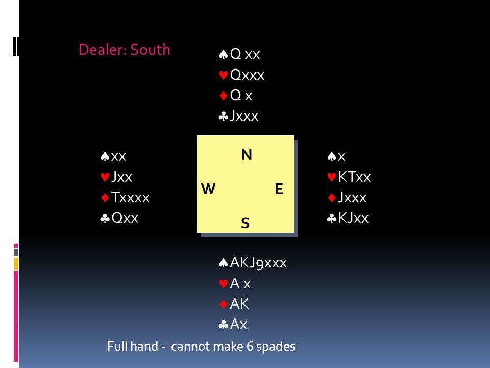 NWESNWES Dealer: South  Q xx Qxxx  Q x  Jxxx  x KTxx  Jxxx  KJxx  AKJ9xxx A x  AK  Ax  xx Jxx  Txxxx  Qxx Full hand - cannot make 6 spades