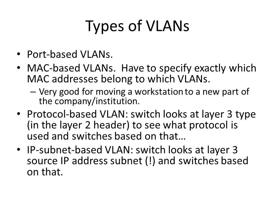 Types of VLANs Port-based VLANs. MAC-based VLANs.