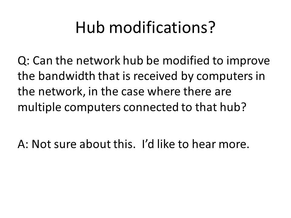 Hub modifications.