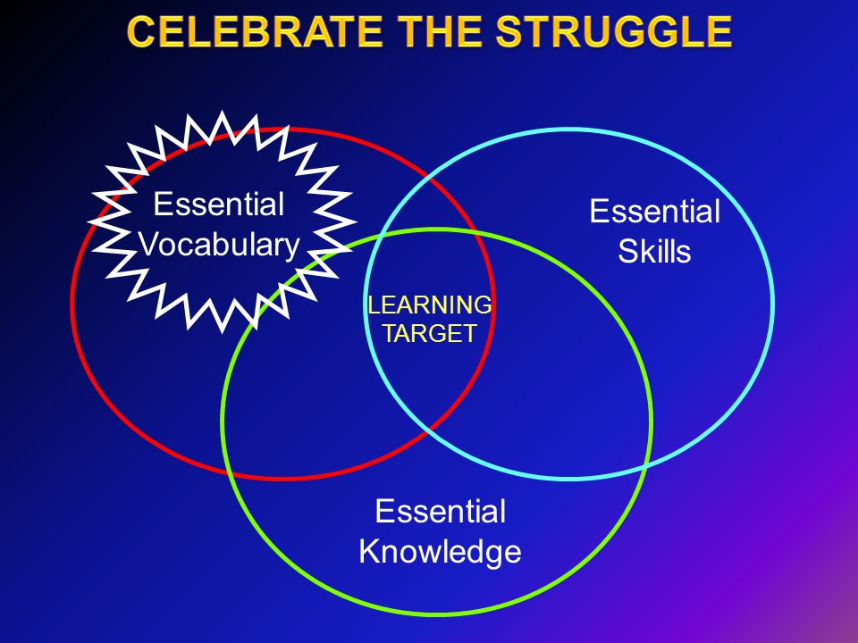 Essential Vocabulary Essential Skills Essential Knowledge LEARNING TARGET